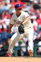 Philadelphia Phillies pitcher Jonathan Papelbon #58 during their home opener against the Miami Marlins at Citizens Bank Park on April 9, 2012 in Philadelphia, Pennsylvania.  Miami defeated Philadelphia 6-2.  (Mike Janes/Four Seam Images)