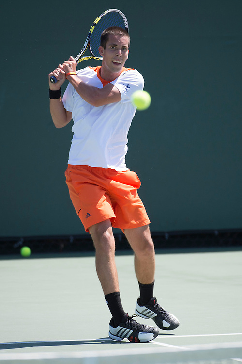 April 26, 2013; San Diego, CA, USA; Pepperdine Waves player Sebastian Fanselow during the WCC Tennis Championships at Barnes Tennis Center.