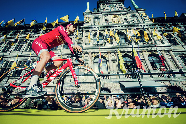 Team Katusha-Alpecin mounting the presentation podium in front of the Antwerp town hall before the race start<br /> <br /> 101th Ronde Van Vlaanderen 2017 (1.UWT)<br /> 1day race: Antwerp &rsaquo; Oudenaarde - BEL (260km)
