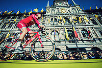 Team Katusha-Alpecin mounting the presentation podium in front of the Antwerp town hall before the race start<br /> <br /> 101th Ronde Van Vlaanderen 2017 (1.UWT)<br /> 1day race: Antwerp › Oudenaarde - BEL (260km)