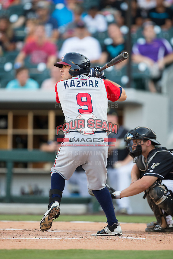 Sean Kazmar (9) of the Gwinnett Braves at bat against the Charlotte Knights at BB&T BallPark on August 11, 2015 in Charlotte, North Carolina.  The Knights defeated the Braves 3-2.  (Brian Westerholt/Four Seam Images)