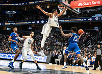 WASHINGTON, DC - FEBRUARY 05: Myles Powell #13 of Seton Hall grabs the shirt of Jamorko Pickett #1 of Georgetown as he makes a pass during a game between Seton Hall and Georgetown at Capital One Arena on February 05, 2020 in Washington, DC.