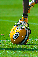 A Green Bay Packers sits on the field during a training camp practice on August 29, 2017 at Ray Nitschke Field in Green Bay, Wisconsin.   (Brad Krause/Krause Sports Photography)