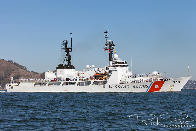 The crew of the Coast Guard Cutter Boutwell (WHEC 719) line the deck as the 47 year old cutter enters San Francisco Bay. The Boutwell is scheduled to be decomissioned in early 2016.