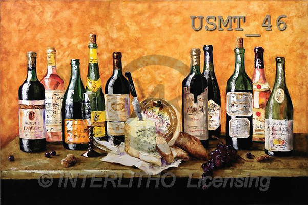 Malenda, STILL LIFES, paintings, french wine(USMT46,#I#) Stilleben, naturaleza muerta, illustrations, pinturas