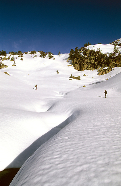 Snowshoeing people, Madamete pass. Hautes-Pyrenees, France.