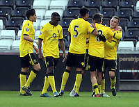 Pictured: Rory Hale (R) of Aston Villa celebrates his opening goal with team mates  Monday 25 April 2016<br /> Re: Play Off semi final, Swansea City AFC U21 v Aston Villa FC U21 at the Liberty Stadium, Swansea, UK