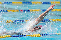 5 November 2011:  FIU's Johanna Gustafsdottir competes in the 200 yard backstroke as the FIU Golden Panthers won the meet with the Florida Atlantic University Owls and Florida Southern Moccasins at the Biscayne Bay Campus Aquatics Center in Miami, Florida.