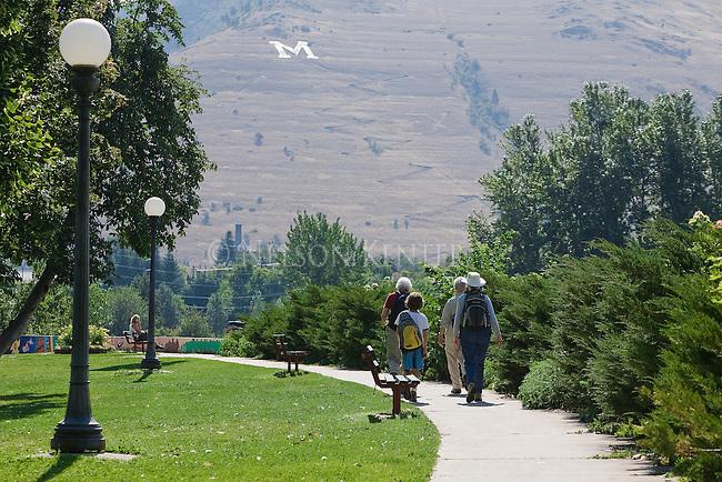 The riverfront trail along the Clark Fork River through Missoula, Montana