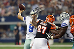 Dallas Cowboys quarterback Tony Romo (9) in action during the pre-season game between the Cincinnati Bengals and the Dallas Cowboys at the AT & T stadium in Arlington, Texas. Dallas leads Cincinnati 14 to 7 at halftime.