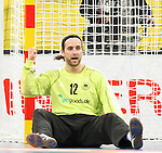 20.01.2013 Barcelona, Spain. IHF men's world championship, eighth.final. Picture show Silvio Heinevetter  in action during game between Germany  vs FYRO Macedonia at Palau st Jordi