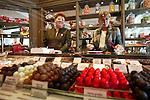 PARIS - FRANCE - 15 APRIL 2004--The fine food shop Fauchon at Place de la Madeleine. Ladies ready to serve the customers chocolate-- PHOTO: ERIK LUNTANG / EUP-IMAGES