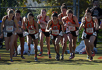 Nov 14, 2015; Claremont, CA, USA; Occidental College runners at the start of the womens race during the 2015 NCAA Division III West Regionals cross country championships at Pomona-Pitzer College. From left: Eva Townsend (187), Melina Devoney (182), Roxanne Valle (188), Aria Blumm (181) and Natalie Gradwohl (183). (Freelance photo by Kirby Lee)
