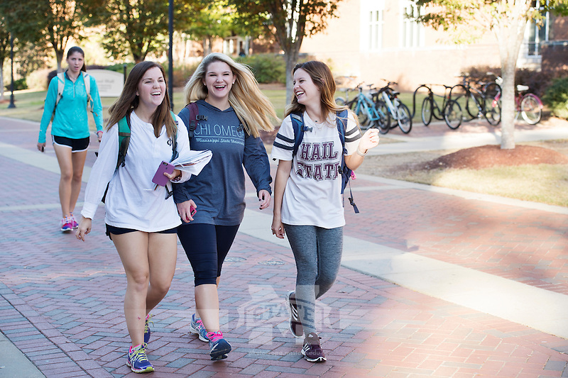 Old Main Plaza - students walking to class.<br />  (photo by Megan Bean / &copy; Mississippi State University)