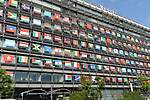 Palaceside Building in Chiyoda Ward, Tokyo, is decorated with flags of 206 countries and regions belonging to the International Olympic Committee to commemorate 1000 days until the 2020 Tokyo Olympic and Paralympic Games.<br /> November 1, 2017. <br /> (Photo by Hitoshi Mochizuki/AFLO)