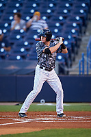 Tampa Yankees designated hitter Kyle Holder (12) at bat during the second game of a doubleheader against the Bradenton Marauders on April 13, 2017 at George M. Steinbrenner Field in Tampa, Florida.  Tampa defeated Bradenton 2-1.  (Mike Janes/Four Seam Images)