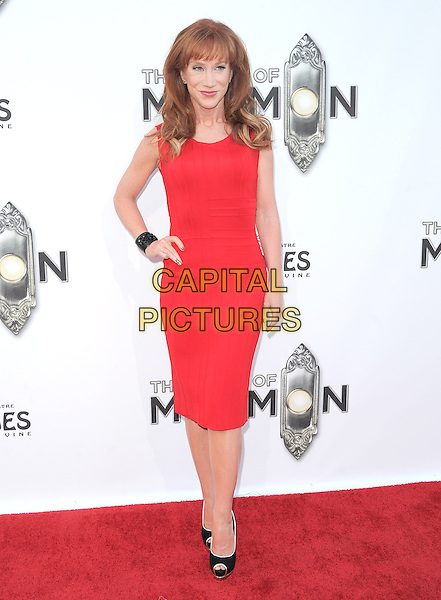 "Kathy Griffin.""The Book of Mormon"" Hollywood Opening night Held At The Pantages theatre, Hollywood, California, USA..September 12th, 2012.full length dress black peep toe shoes hand on hip red sleeveless  .CAP/DVS.©DVS/Capital Pictures."