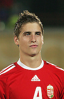Hungary's Mate Kiss (4) stands on the field before the match against Italy during the FIFA Under 20 World Cup Quarter-final match at the Mubarak Stadium  in Suez, Egypt, on October 09, 2009. Hungary won 2-3 in overtime.