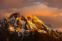 Mountain peak at sunrise in Grand Teton National Park.