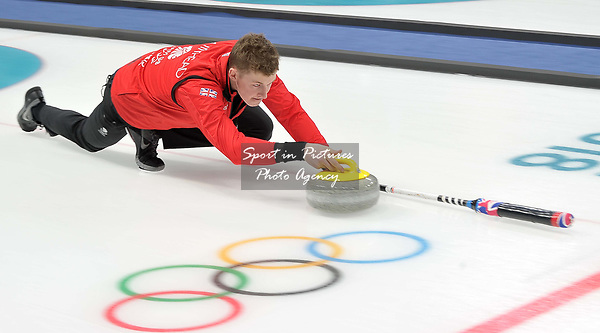 Tom Muirhead (GBR). Mens Curling training. Pyeongchang2018 winter Olympics Gangneung curling centre. Gangneung. Republic of Korea. 12/02/2018. ~ MANDATORY CREDIT Garry Bowden/SIPPA - NO UNAUTHORISED USE - +44 7837 394578