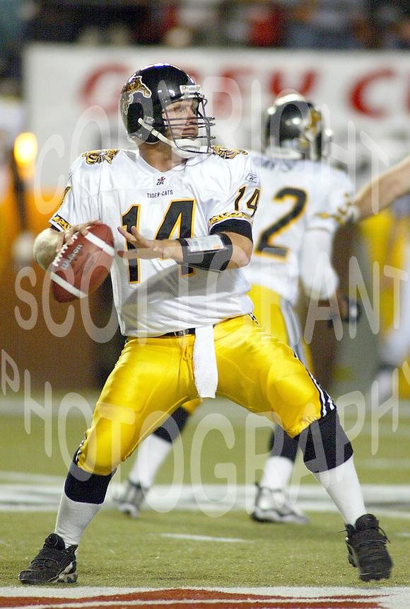 Danny McManus quarterback Hamilton Tiger Cats 2004. Photo Scott Grant