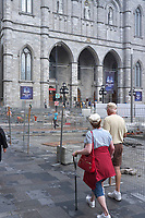 Montreal (Qc) CANADA - August 25 2011 File  Blocked Notre-Dame street West and Saint-Urbain street during renovation of the  PLace d'armes in front of Notre-Dame Basilica in Old-Montreal touristic area.<br />  Work done by TERRAMEX