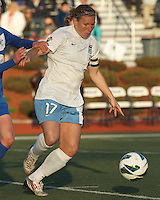 Chicago Red Stars midfielder Lori Chalupny (17) attempts to control the ball. In a National Women's Soccer League Elite (NWSL) match, the Boston Breakers (blue) defeated Chicago Red Stars (white), 4-1, at Dilboy Stadium on May 4, 2013.