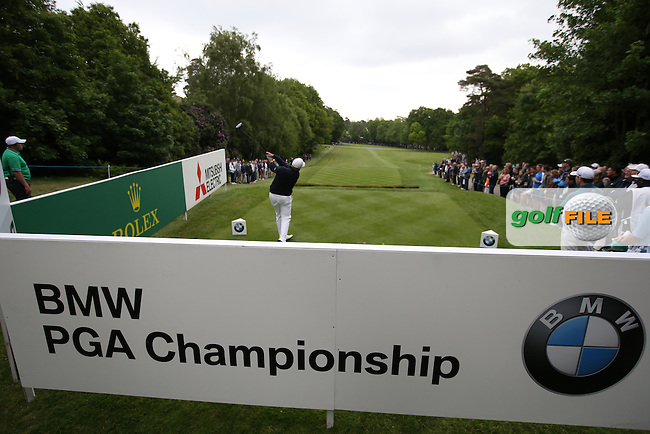 Shane Lowry (IRL) drives down the 17th during Round Three of the 2015 BMW PGA Championship over the West Course at Wentworth, Virginia Water, London. 23/05/2015. Picture David Lloyd | www.golffile.ie.