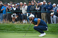 Dustin Johnson (USA) looks over his putt on 6 during round 2 of the 2019 US Open, Pebble Beach Golf Links, Monterrey, California, USA. 6/14/2019.<br /> Picture: Golffile | Ken Murray<br /> <br /> All photo usage must carry mandatory copyright credit (© Golffile | Ken Murray)