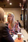 November 27, 2012. Charleston, South Carolina.. Alexa Wyatt meets at a Starbucks with caterer Sarah Coffey of Newton Farms, of Kiawah.. Alexa Wyatt, 23, is an Event Coordinator with Southern Protocol, a boutique wedding and event planning company in Charleston, SC..