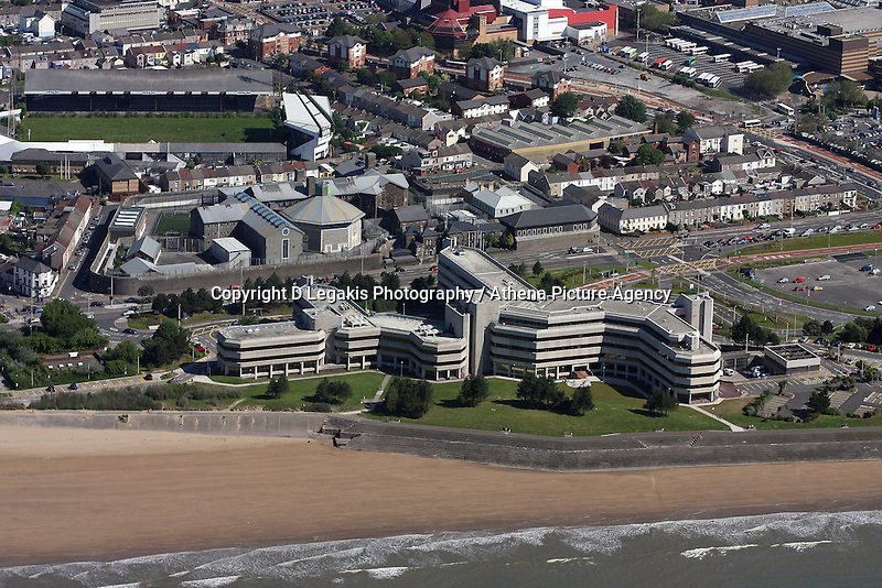 Aerial view of the County Hall in Swansea