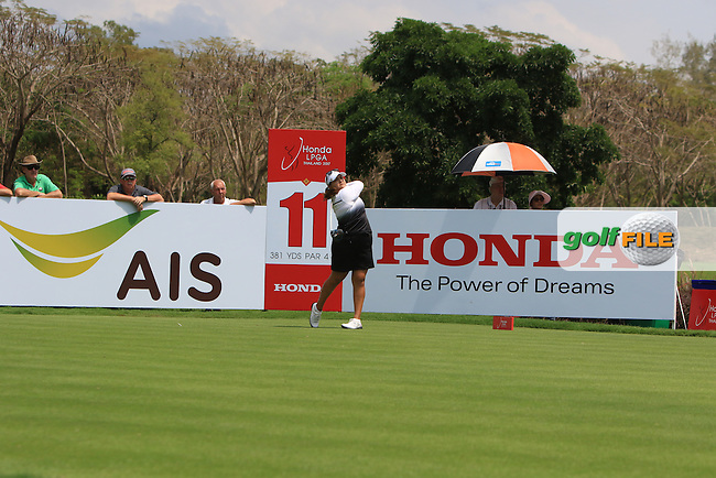 Lizette Salas (USA) on the 11th tee during Round 1 of the Honda LPGA Thailand on Thursday 23rd February 2017.<br /> Picture:  Thos Caffrey / Golffile
