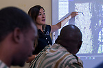 Conservationist, Xia Stevens, teaching anti-poaching scounts about SMART program, Sioma, western Zambia