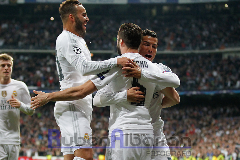 Players Real Madrid celebrating goal  of Nacho