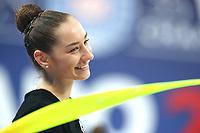 August 29, 2017 - Pesaro, Italy - KATSIARYNA HALKINA of Belarus smiles during training at 2017 World Championships.