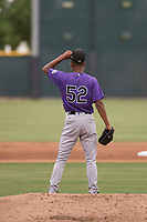 Colorado Rockies relief pitcher Keinter Olivares (52) during an Extended Spring Training game against the Arizona Diamondbacks at Salt River Fields at Talking Stick on April 16, 2018 in Scottsdale, Arizona. (Zachary Lucy/Four Seam Images)
