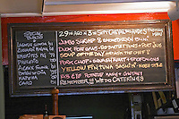 Chalkboard with today's specials on the menu. The O'Farrell Restaurant, Acassuso, Buenos Aires Argentina, South America