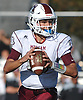 Michael Proios #10, Mepham quarterback, looks for an open receiver during a Nassau County Conference II varsity football game against MacArthur at Mepham High School on Saturday, Sept. 9, 2017. He orchestrated a scoring drive with eight seconds left to lead the Pirates to a dramatic 35-34 victory in Week 1.