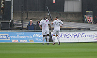 John Akinde of Barnet (left) celebrates scoring his side's first goal during the Sky Bet League 2 match between Newport County and Barnet at Rodney Parade, Newport, Wales on 3 September 2016. Photo by Mark  Hawkins / PRiME Media Images.