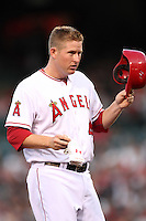 Los Angeles Angels first baseman Mark Trumbo #44 during a game against the New York Yankees at Angel Stadium on September 10, 2011 in Anaheim,California. Los Angeles defeated New York 6-0.(Larry Goren/Four Seam Images)