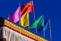 Flags, Lhasa, Tibet, (Xizang, China).