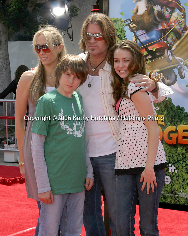 Billy Ray Cyrus & daughter Miley Cyrus, wife and son.Over The Hedge LA Premiere.Mann's Village Theater.Los Angeles, CA.April 30, 2006.©2006 Kathy Hutchins / Hutchins Photo..