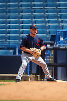 First Baseman Seth Caddell (31) of Pinecrest High School in Carthage, North Carolina playing for the Cleveland Indians scout team during the East Coast Pro Showcase on August 3, 2016 at George M. Steinbrenner Field in Tampa, Florida.  (Mike Janes/Four Seam Images)