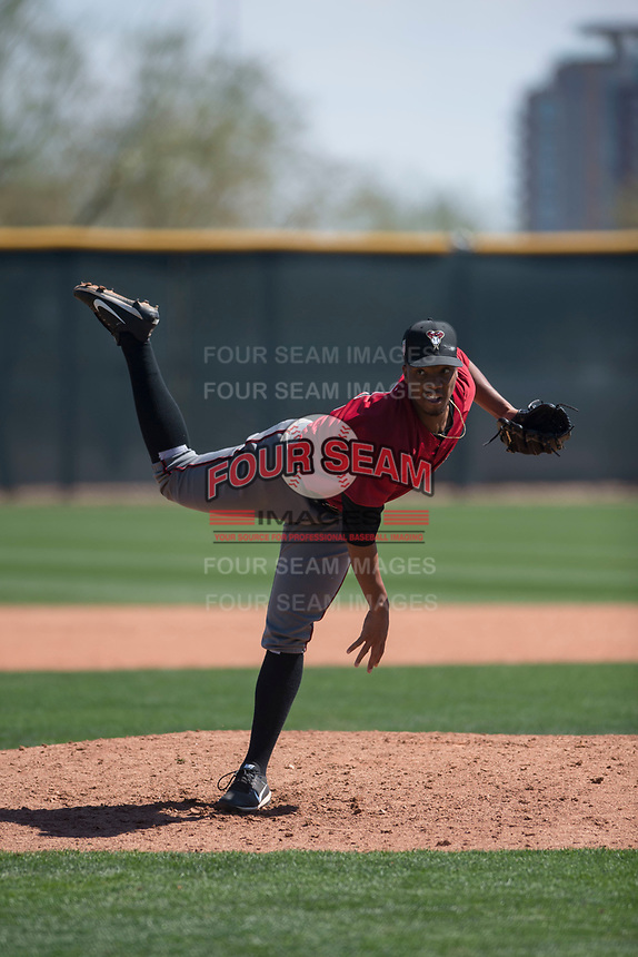Arizona Diamondbacks relief pitcher Tyler Mark (26) follows through on his delivery during a Minor League Spring Training intrasquad game at Salt River Fields at Talking Stick on March 12, 2018 in Scottsdale, Arizona. (Zachary Lucy/Four Seam Images)
