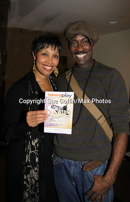 "Starring Guiding Light Kim Brockington ""Mrs. Hopkins"" and Robert Karma Robinson ""Satchel Paige"" on Opening Night of Kansas City Swing - A World Premiere on October 16 at Crossroads Theatre, New Brunswick, New Jersey  (Photo by Sue Coflin/Max Photos)"