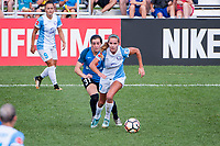 Kansas City, MO - Wednesday August 16, 2017: Christina Gibbons, Dani Weatherholt during a regular season National Women's Soccer League (NWSL) match between FC Kansas City and the Orlando Pride at Children's Mercy Victory Field.