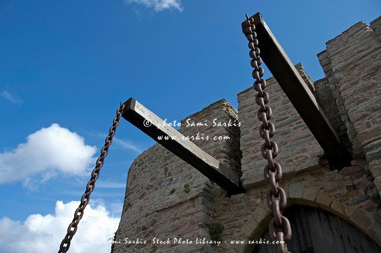 Drawbridge of Fort la Latte, a 13th century castle in Brittany, France.