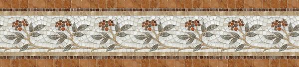 "9 1/8"" Juniper border, a hand-cut stone mosaic, shown in polished Rosa Verona, Aegean Brown, Salmon Moss, Montevideo, and Calacatta Tia."