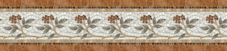 "9 1/8"" Juniper border, a hand-cut stone mosaic, shown in polished Rosa Verona, Aegean Brown, Salmon Moss, Montevideo, and Calacatta Tia."