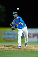Myrtle Beach Pelicans relief pitcher Manuel Rondon (13) delivers a pitch to the plate against the Winston-Salem Dash at TicketReturn.com Field on May 16, 2019 in Myrtle Beach, South Carolina. The Dash defeated the Pelicans 6-0. (Brian Westerholt/Four Seam Images)